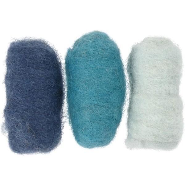 Assortiment de pelotes de laine cardée - 3 x 10 gr - Tons bleus - Photo n°1