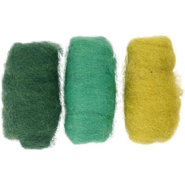 Assortiment de pelotes de laine cardée - 3 x 10 gr - Tons verts - Photo n°1