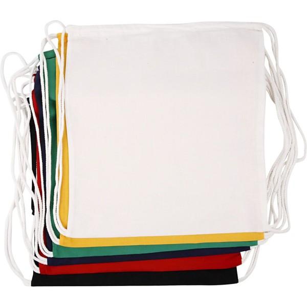 Lot de sac à cordons - 37 x 41 cm - Couleurs assorties - 6 pcs - Photo n°1