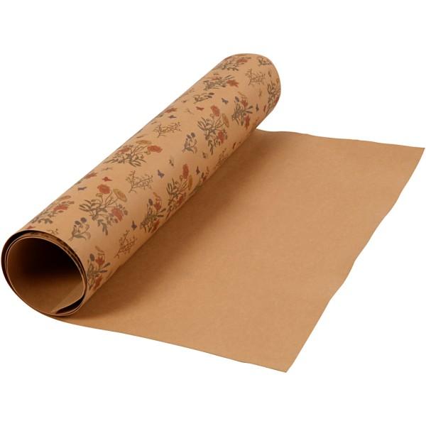 Papier lavable avec imprimé - Brun clair - 49,5 cm x 1 m - Photo n°1