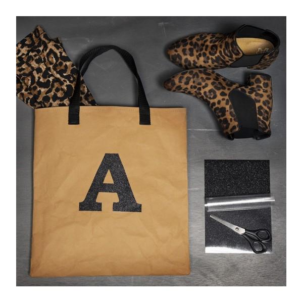 Tote bag en papier effet cuir brun clair - 35 x 38 cm - Photo n°2