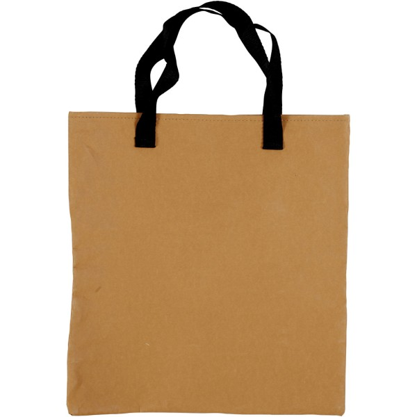 Tote bag en papier effet cuir brun clair - 35 x 38 cm - Photo n°1