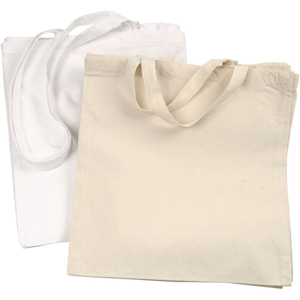 Lot de Tote Bag à décorer - 42 x 38 cm - Blanc et naturel - 20 pcs - Photo n°1