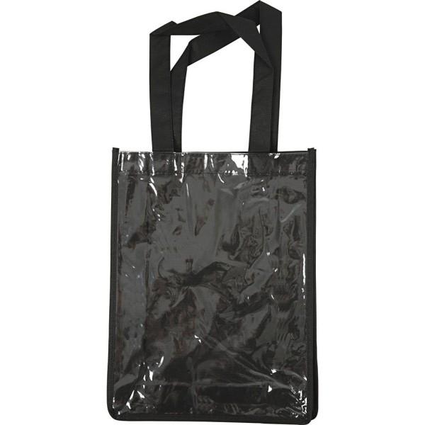 Tote bag en tissu synthétique noir à décorer - 23 x 30 x 7 cm - 1 pce - Photo n°1