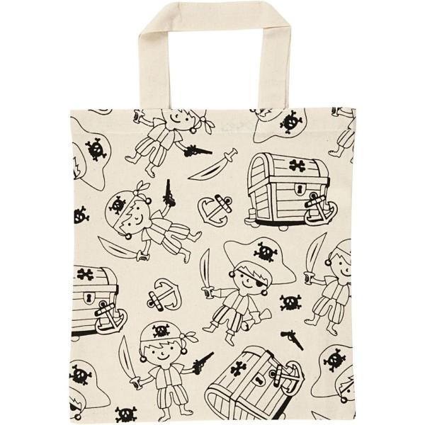 Sac Tote bag à personnaliser - 27,5 x 30 cm - Pirate - Naturel clair - Photo n°1
