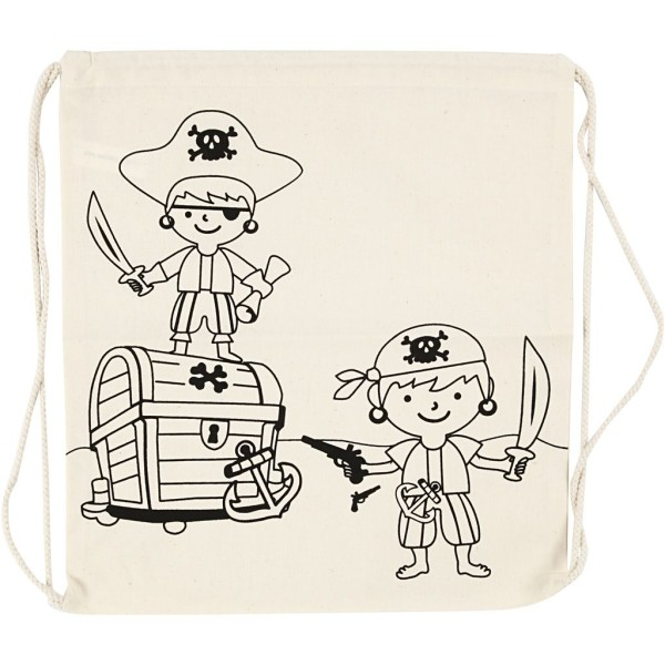 Sac à cordons à personnaliser - 37 x 41 cm - Pirate - Naturel clair - Photo n°1