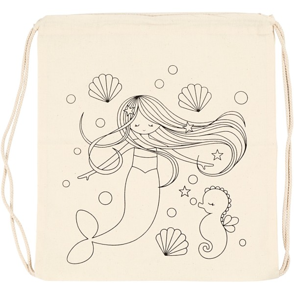 Sac à cordons à personnaliser - 37 x 41 cm - Sirène - Naturel clair - Photo n°1