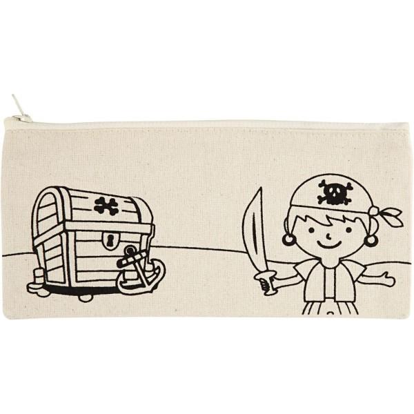 Trousse en tissu à personnaliser - 9 x 21 cm - Pirate - Naturel clair - Photo n°1