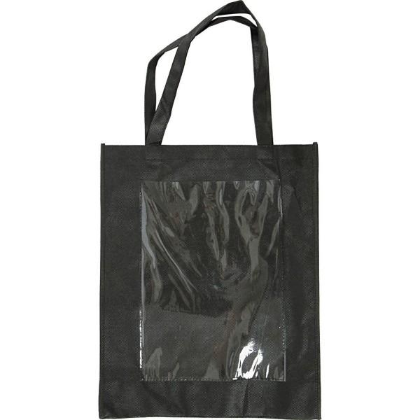 Cabas en tissu synthétique noir à décorer - 34 x 42 x 12 cm - 1 pce - Photo n°1