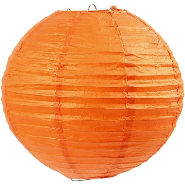 Lampion en papier de riz - Orange - 20 cm - Photo n°1