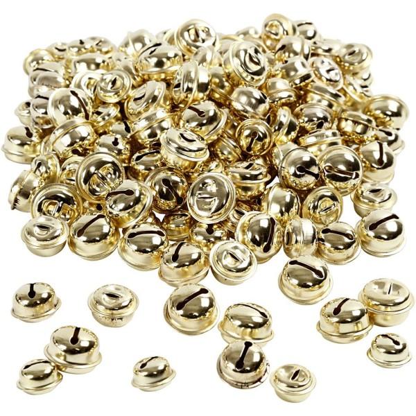 Assortiment de clochettes en métal - Doré - 13+15+17 mm - 220 pcs - Photo n°1