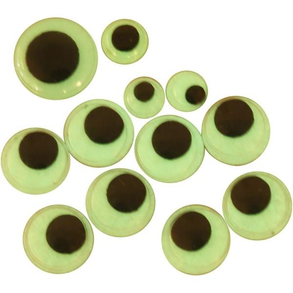 Assortiment d'yeux mobiles phosphorescents à coller - 8 à 14 mm - 300 pcs - Photo n°1