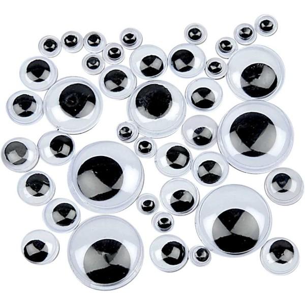 Assortiment de yeux mobiles à coller - 4 à 20 mm - 1100 pcs - Photo n°1