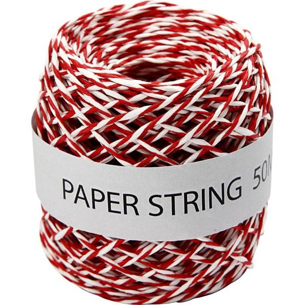 Pelote de ficelle de papier - Rouge et blanc - 1 mm x 50 m - Photo n°1