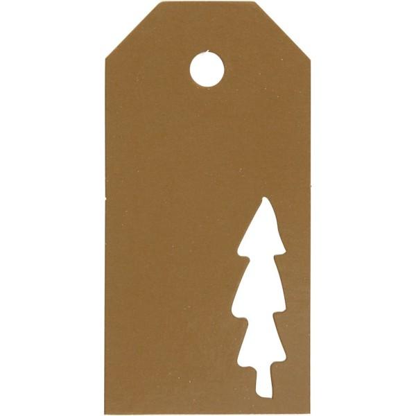 Étiquettes cadeaux Sapin perforé - 5x10 cm - Doré - 15 pcs - Photo n°1