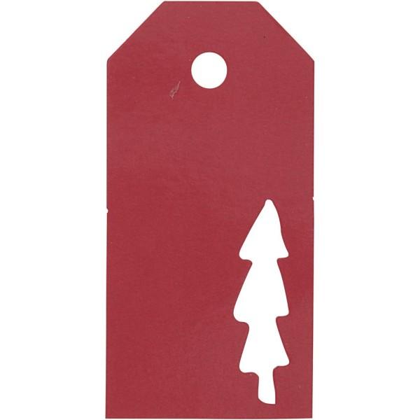 Étiquettes cadeaux Sapin perforé - 5x10 cm - Rouge - 15 pcs - Photo n°1