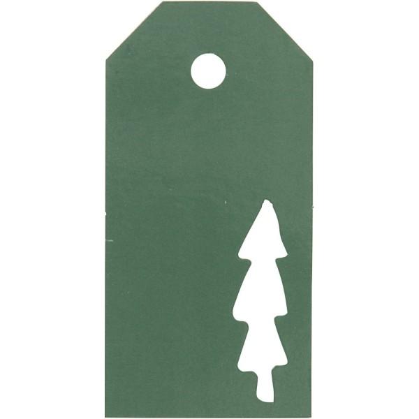 Étiquettes cadeaux Sapin perforé - 5x10 cm - Vert - 15 pcs - Photo n°1