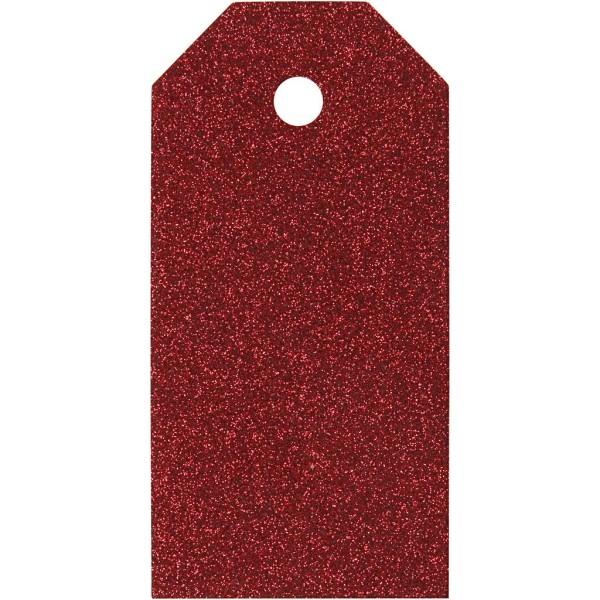 Étiquettes cadeaux à paillettes 5x10 cm - Rouge - 15 pcs - Photo n°1