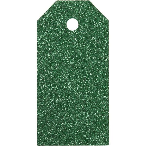 Étiquettes cadeaux à paillettes 5x10 cm - Vert - 15 pcs - Photo n°1