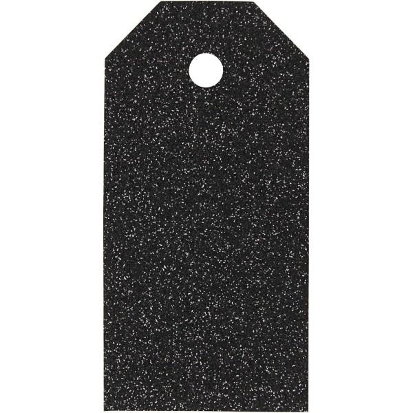 Étiquettes cadeaux à paillettes 5x10 cm - Noir - 15 pcs - Photo n°1