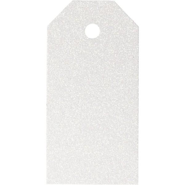 Etiquettes cadeaux à paillettes - Blanc - 5 x 10 cm - 15 pcs - Photo n°1
