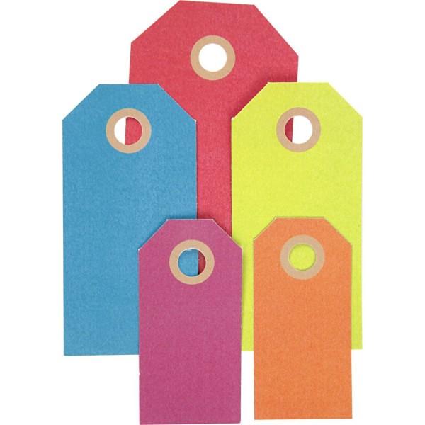 Etiquette cadeau en papier cartonné - 6 à 10 cm - 5 couleurs - 500 pcs - Photo n°1