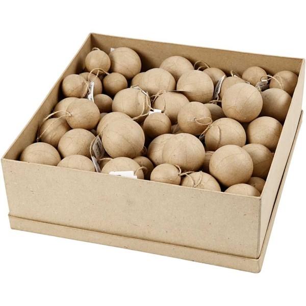 Lot boules de Noël en papier mâché - 4 à 6 cm - 105 pcs - Photo n°1