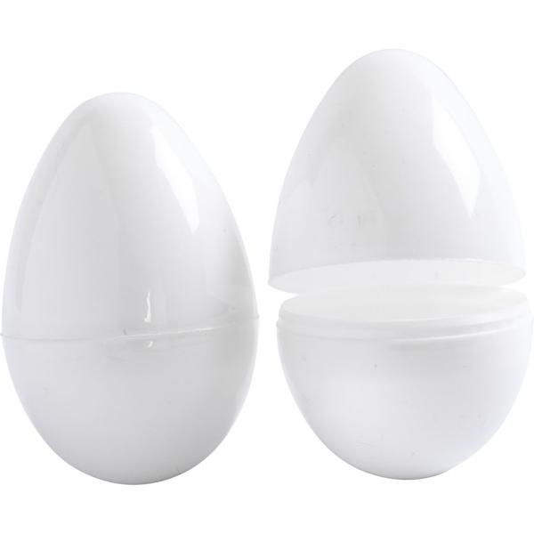 Oeufs en plastique à décorer - Deux parties - Blanc - 8,8 x 5,5 cm - 12 pcs - Photo n°1