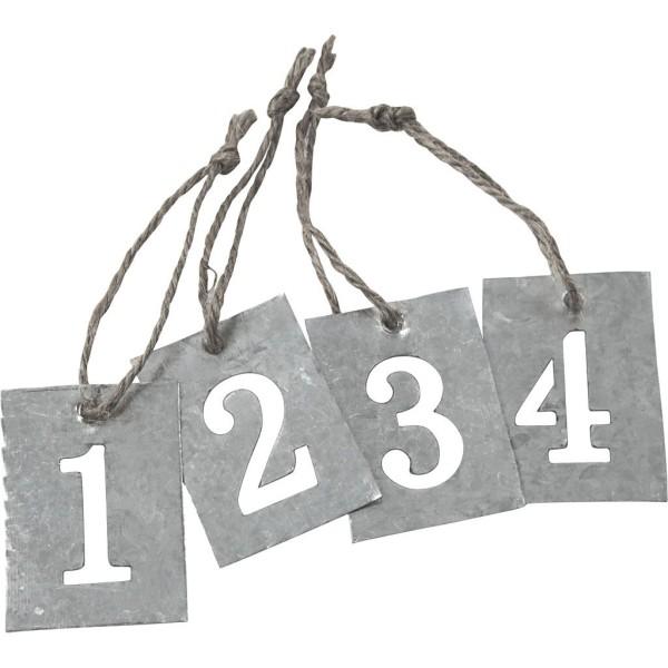 Étiquettes numérotées en zinc - 2,7x 4 cm - 4 pcs - Photo n°1
