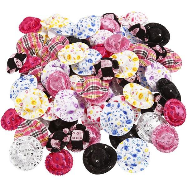 Mini-chapeaux, d: 4 cm, 100 assortis, Couleurs assorties - Photo n°1