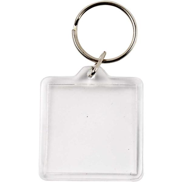 Porte-clé transparent pour photo - 40 x 40 mm - 25 pcs - Photo n°1