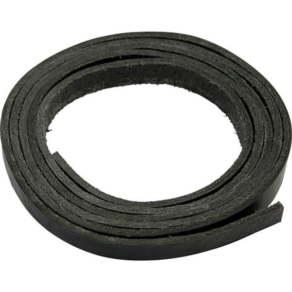 Bande de cuir - Noir - 1 cm x 2 m - Photo n°1