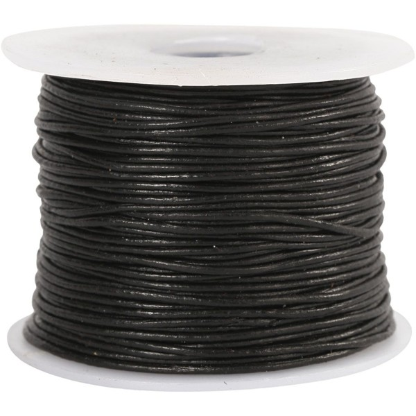 Cordon en cuir noir - 1 mm - Au mètre (sur mesure) - Photo n°1