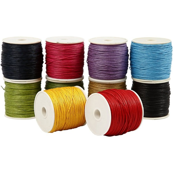 Assortiment de ficelles de coton 10 couleurs - 1 mm x 50 m - 10 pcs - Photo n°1