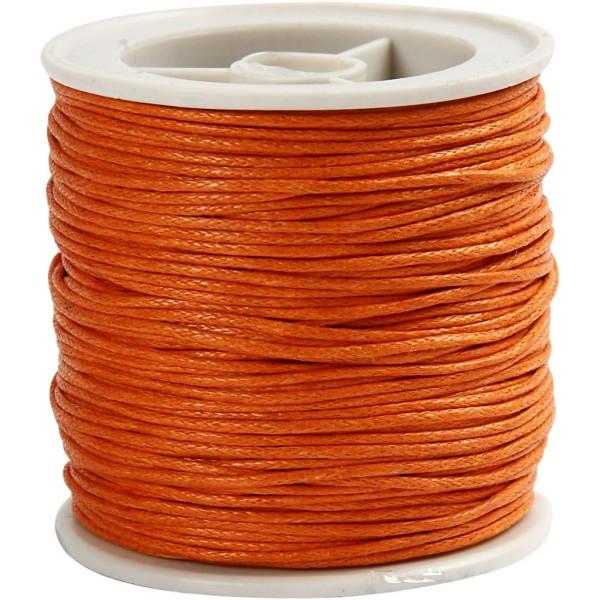 Fil de coton ciré - Orange - 1 mm x 40 m - Photo n°1