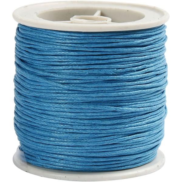Fil de coton ciré - Turquoise - 1 mm x 40 m - Photo n°1