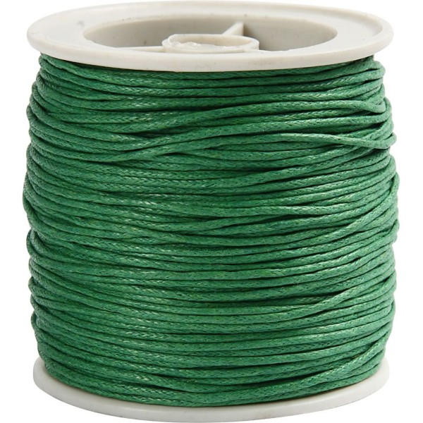 Fil de coton ciré - Vert  - 1 mm x 40 m - Photo n°1
