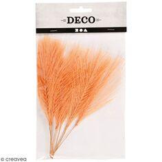 Plumes artificielles orange en polyester - 15 cm - 10 pcs