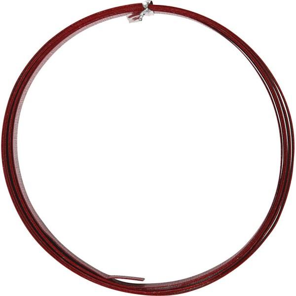 Fil aluminium gaufré - Rouge - 15 x 0,5 mm - 2 mètres - Photo n°1