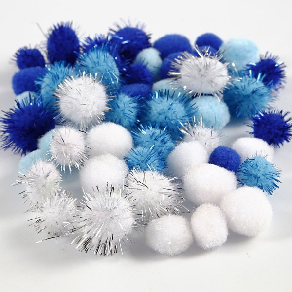 Assortiment de pompons - Mer - 15/20 mm - 48 pcs - Photo n°1