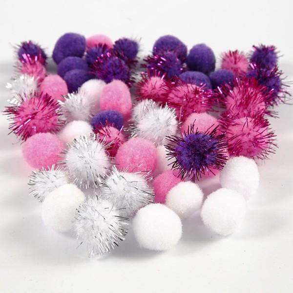 Lot de pompons 15 à 20 mm - Blanc, violet, rose - 48 pcs - Photo n°1