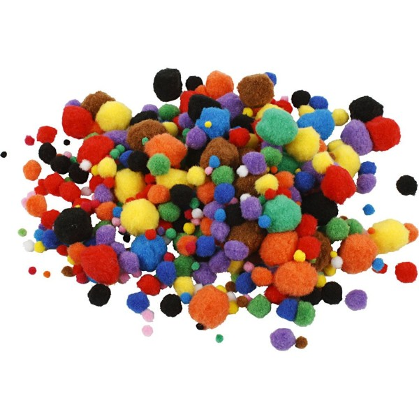Lot de pompons - Couleurs assorties - 5 à 40 mm - 150 pcs - Photo n°1