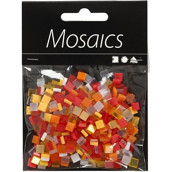 Mini-mosaiques en résine - 5 x 5 mm - 25 gr - Rouge/orange - Photo n°2