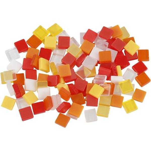 Mini-mosaiques en résine - 5 x 5 mm - 25 gr - Rouge/orange - Photo n°1