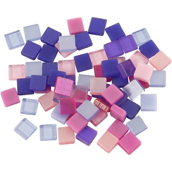 Mini-mosaiques en résine - 5 x 5 mm - 25 gr - Violet/rose - Photo n°1