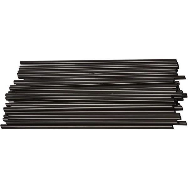 Pailles de construction noires - 12,5 cm x 3 mm - 800 pcs - Photo n°1
