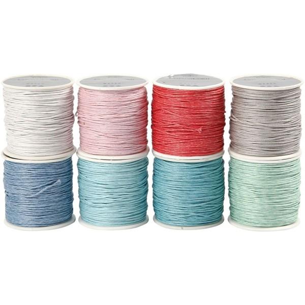 Assortiment de ficelles de coton pour crochet - 8 couleurs x 40 m - Photo n°1