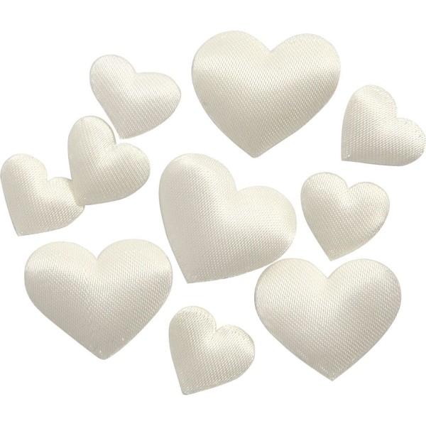 Coeurs blanc cassé en satin à décorer - 1 à 2 cm - 700 pcs - Photo n°1