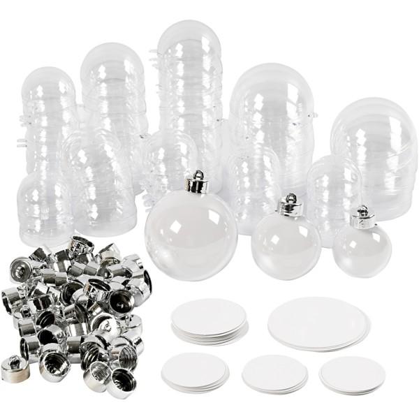 Lot de boules en plastique à décorer - 5 à 8 cm - 60 pcs - Photo n°1
