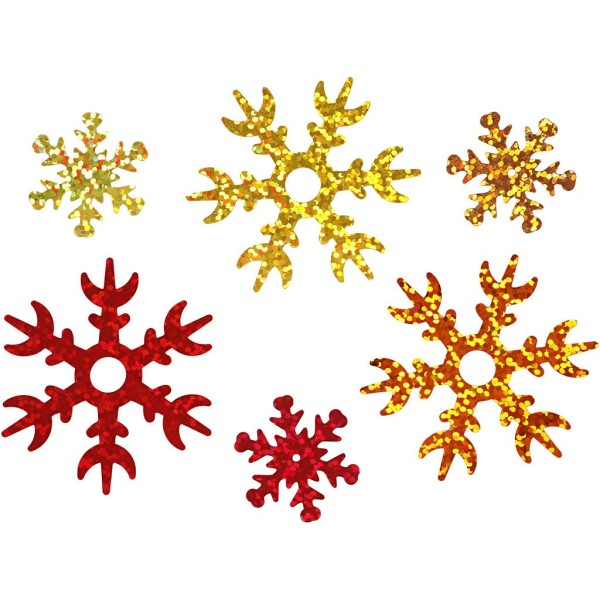 Confettis de table - Flocons 3 couleurs - 2,5 et 4,5 cm - 30 g - Photo n°1